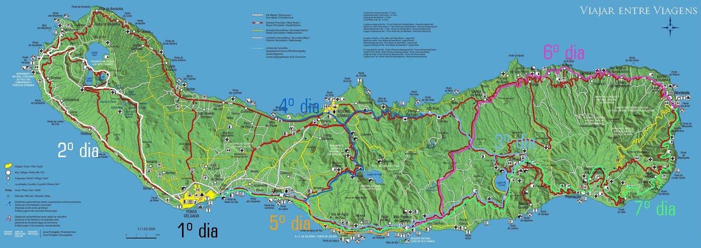 Roteiro mapa São Miguel Açores Portugal Azores