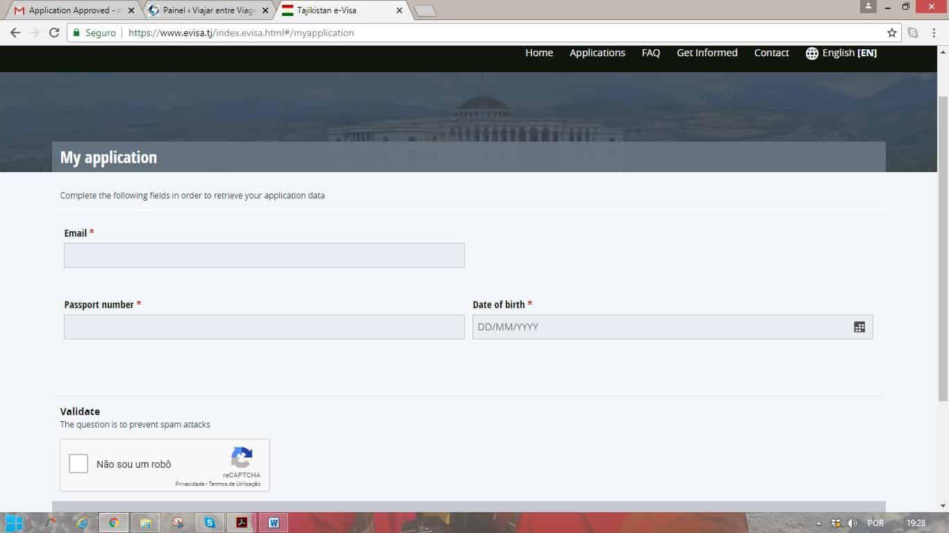 Como tirar o visto do Tajiquistão | Indicações, passo a passo, para obter o e-visa (visto electrónico)